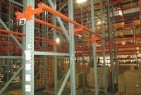 Used Interlake drive-in pallet rack frames and rails.