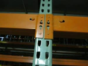Interlake used new style rack standing - beam and frame close up