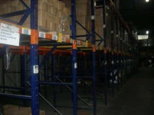 Used Frazier single bay push back rack side view