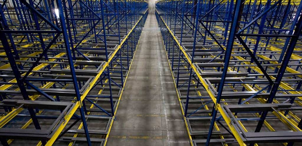 Pushback rack standing in a large warehouse