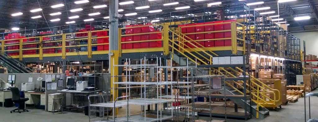 Equipment Storage Mezzanines : Used shelving supported mezzanines shelf