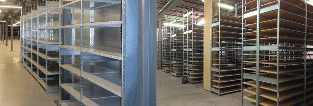 Steel shelving and retail shelving in a warehouse