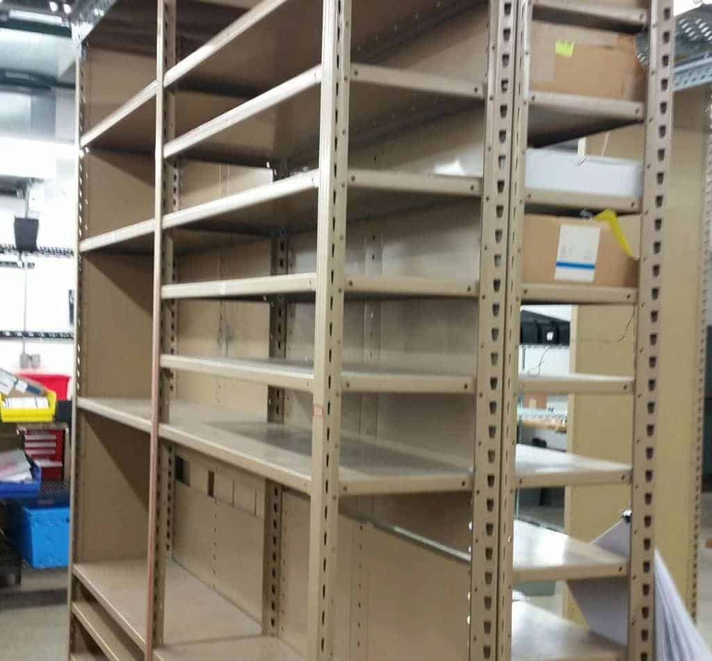 "Used Equipto shelving - 24"" x 36"" x 10'"