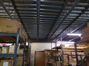 2,040 sq ft mezzanine structure with steel plank decking