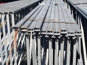 "Hi-Line galvanized pallet rack frames and beams - 50' x 20' and 47"" x 3"""