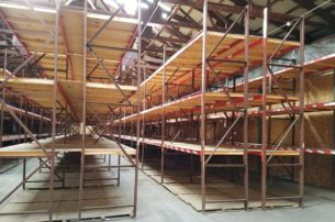 """Used Frazier Structural Rack standing - 40"""" deep x 14' tall frames and 108"""" x 3"""" long Frazier structural beams"""