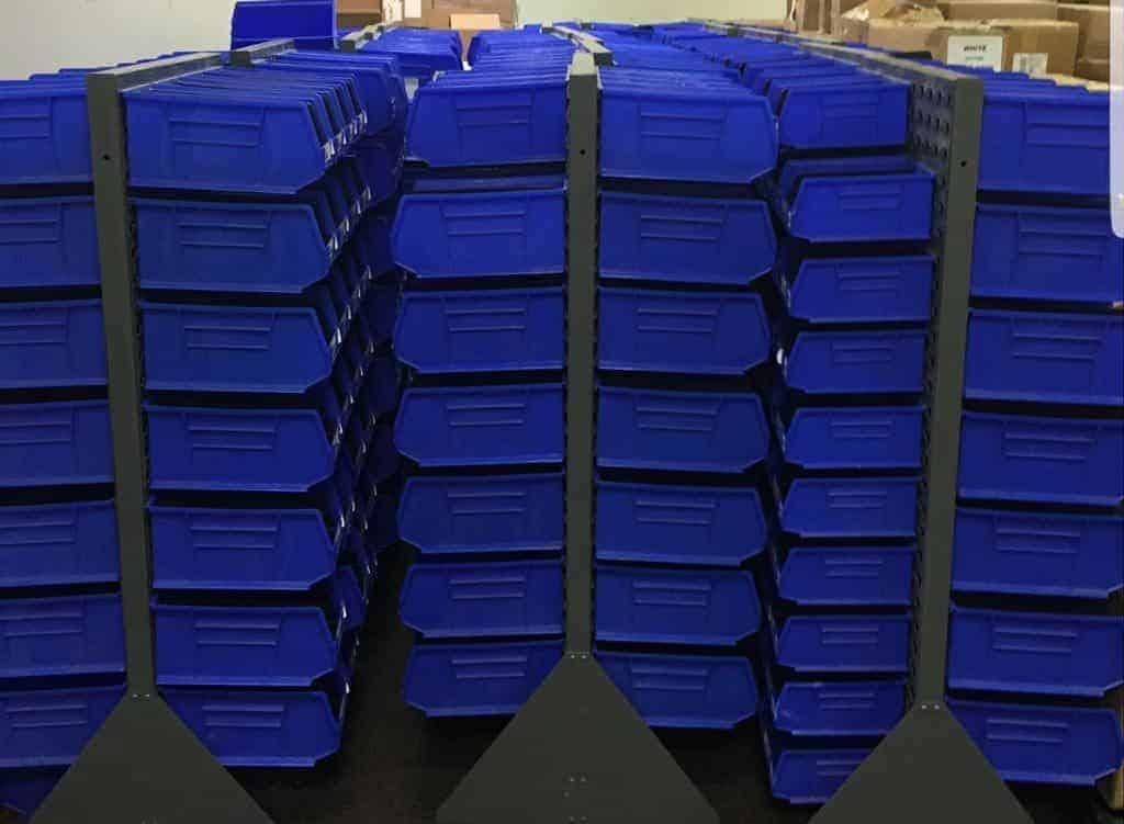 Uline Bins on on floor racks