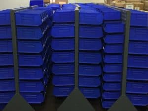 Uline Bins on on floor racks