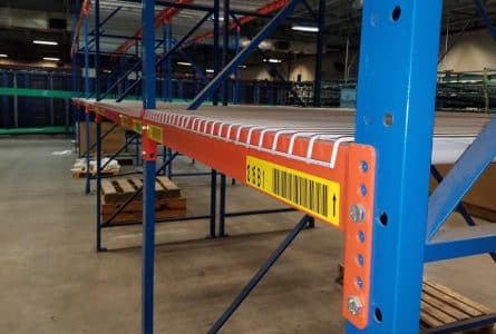 Frazier structural rack standing (installed) in warehouse