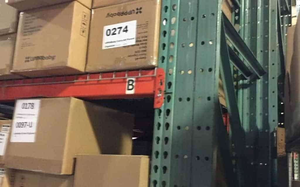 "Teardrop pallet rack - 42"" deep x 14' tall frames and 96"" long beams"