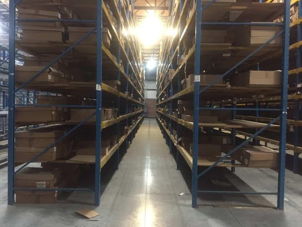 "Keystone pallet rack - 48"" and 60"" deep x 22' tall keystone frames and 96"" x 4"" keystone beams"