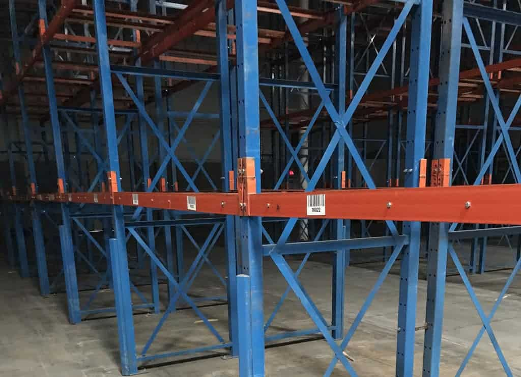 "Steel King structural tube rack - 44"" deep x 24' tall uprights and 93"" long x C-4"" face beams"