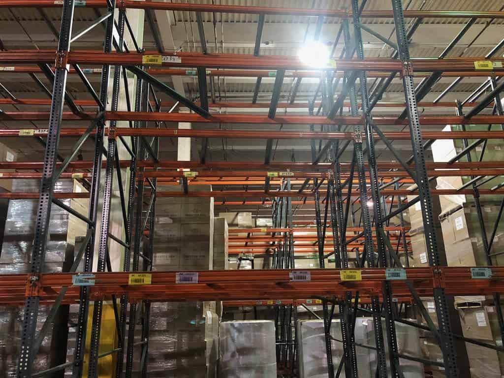 "Hi-Line pallet rack - 42"" deep x 18' tall uprights and 108"" x 3-1/2"" beams"