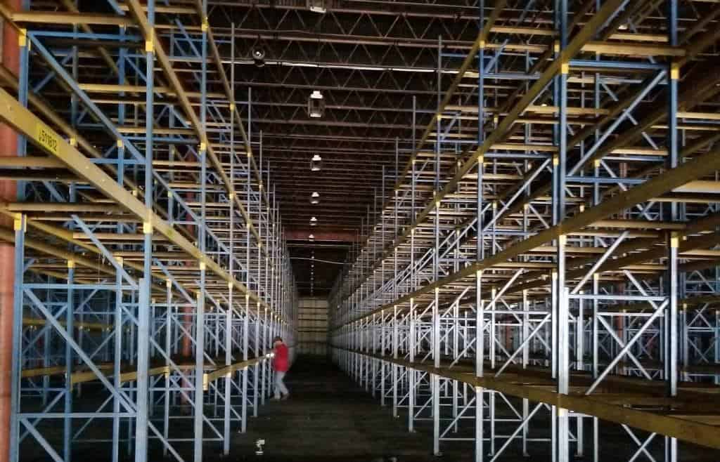 "Frazier structural rack - 36"" x 20' frames and 108"" x C-4"" beams"