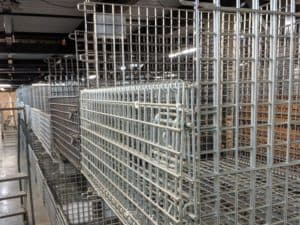Stacked collapsible wire containers