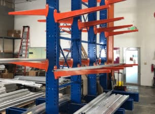 Cantilever rack standing in warehouse