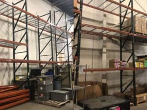 Ridg-U-Rak slotted rack standing in warehouse