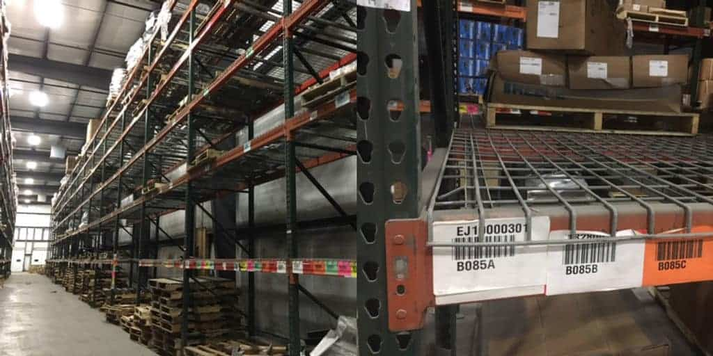"Teadrop pallet rack system with 42"" & 48"" deep x 22' high frames & 99"" & 110"" long beams"