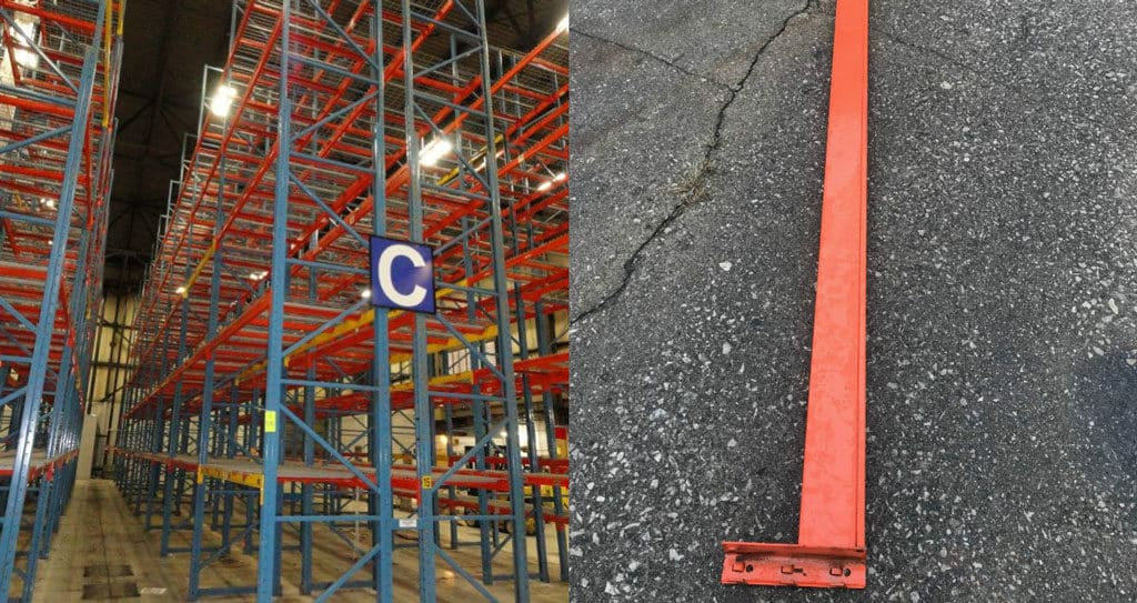 "Redirack pallet rack system 44"" x 31"" upright and 101"" long beams"