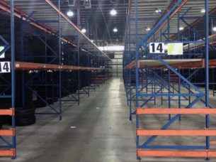 Frazier structural rack sections in warehouse - side view.
