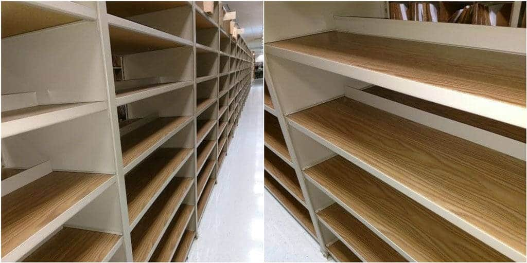 Tennsco shelving tan