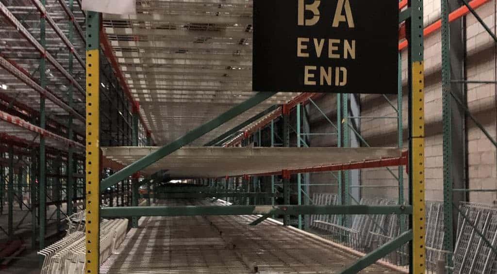 "Side view of 72"" pallet rack frames"