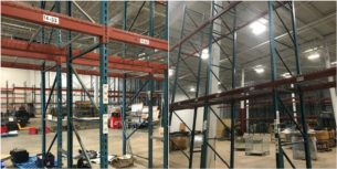 "Keystone style pallet rack system - 42"" x 23' uprights and 96"" x 5"" beams"