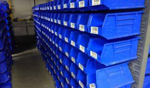 Uline S-12419 bins on bin rack