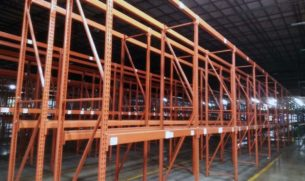 """Used Paltier pallet rack - 34"""" x 12' uprights and 90"""" long beams"""