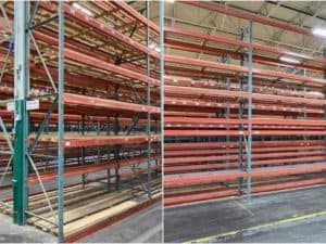 Pallet rack system made of structural frames and roll-formed beams