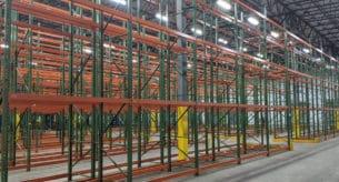 "Teardop rack - 42"" x 20' upright frames and 96"" x 4"" beams"