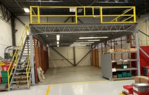 Used structural mezzanine still installed - front view