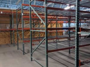 New Style Interlake pallet rack package standing in warehouse. Multiple depths and lengths available.