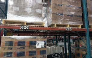 Burtman pallet rack - view of the front of a pallet rack section