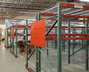 Short teardrop pallet rack installed in warehouse