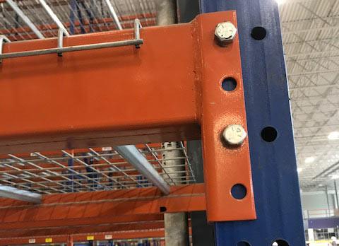 Up close shot of Ridg-U-Rak frame and beam