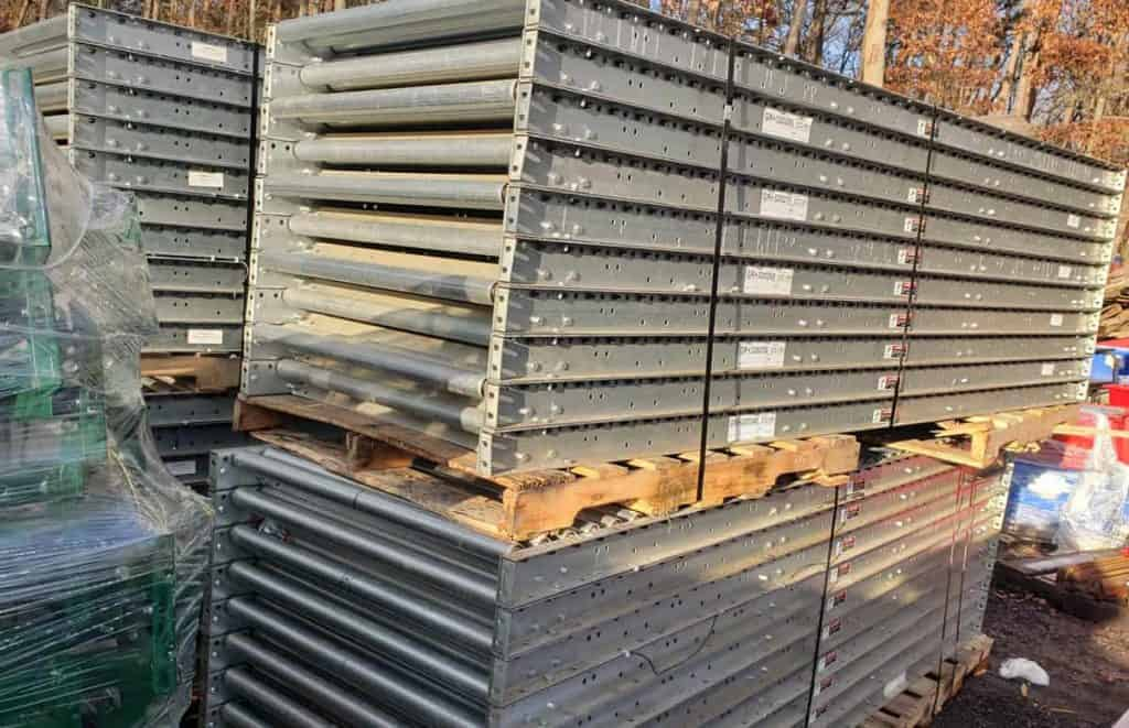 """Stacked 10' sections of 36"""" wide gravity conveyor"""