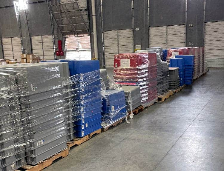 Quantum Storage Systems SNT300 totes stacked and wrapped