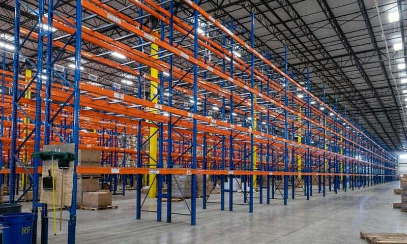 """Teardrop pallet rack 42"""" deep x 27' high frames and 144"""" long x 5-1/2"""" face beams. All standing and put together"""