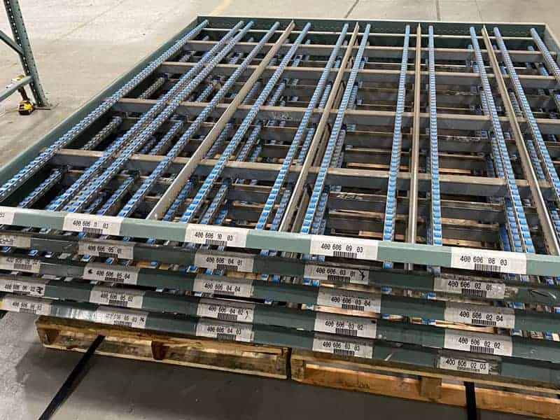 """Stacked Interlaked carton flow beds - 96"""" wide x 109"""" deep"""